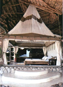 Hut at Shompole; open to the elements, each one has its own plunge pool overlooking the Great Rift Valley.